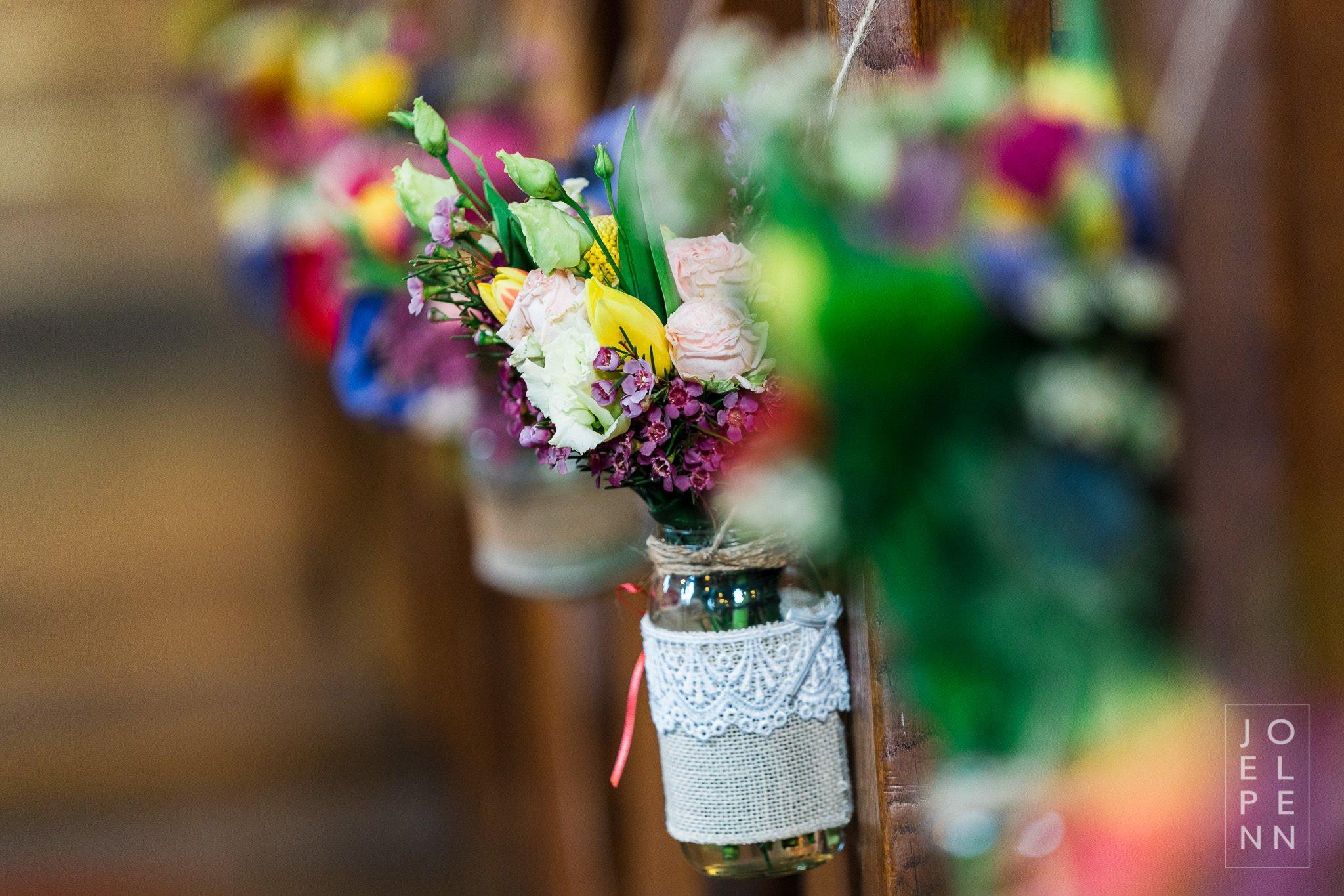 Jam jar pew ends in a church