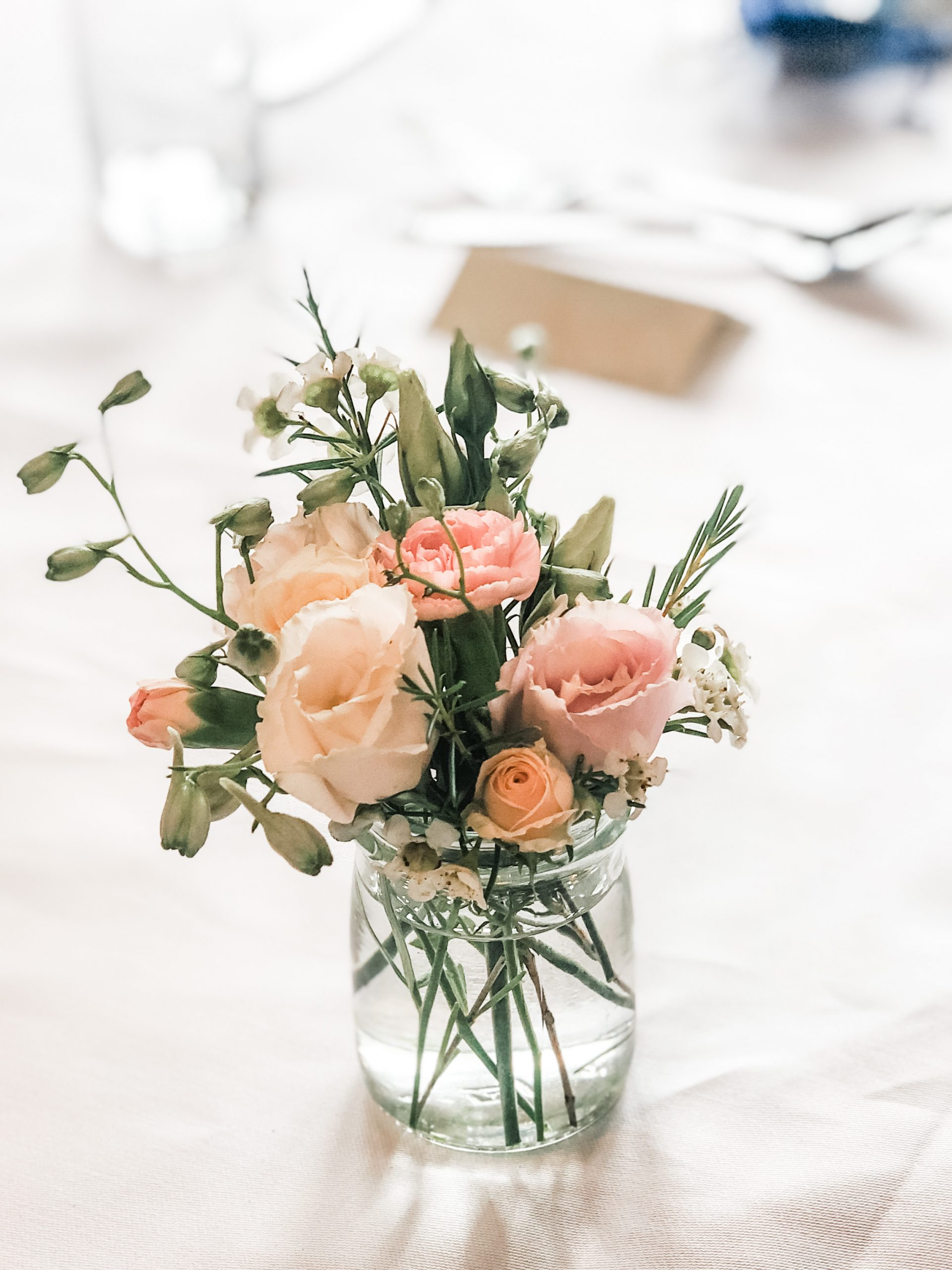 small delicate posy arrangement for wedding table