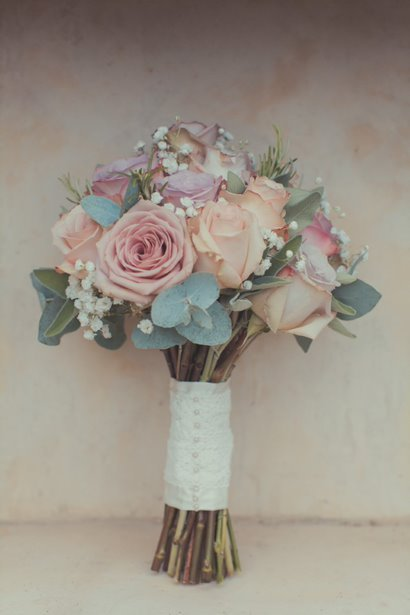 Vintage bridal bouquet with memory lane roses and gyp
