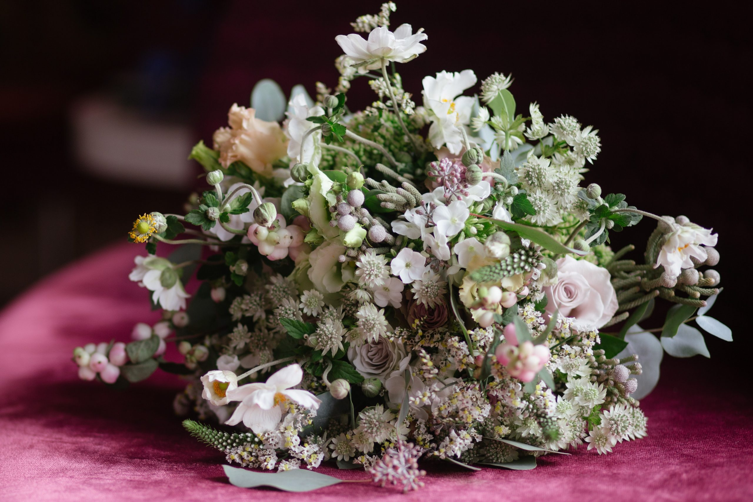 textured bridal bouquet with different tones of white