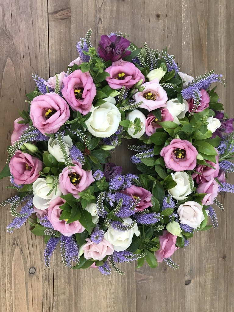 eco friendly Farewell wreath,  with summer flowers
