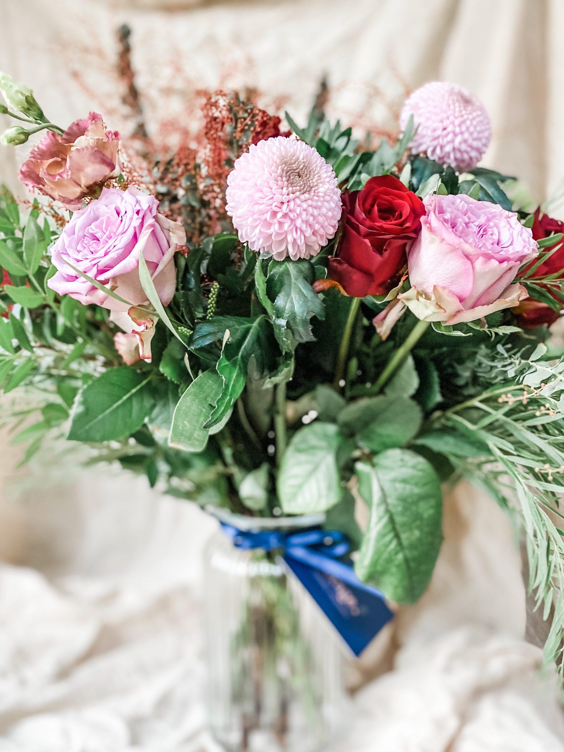 Bespoke vase arrangement roses