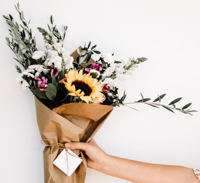 Natural bunch of flowers with sunflower