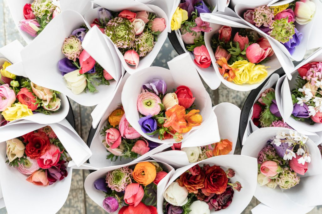 Mixed colour ranunculus