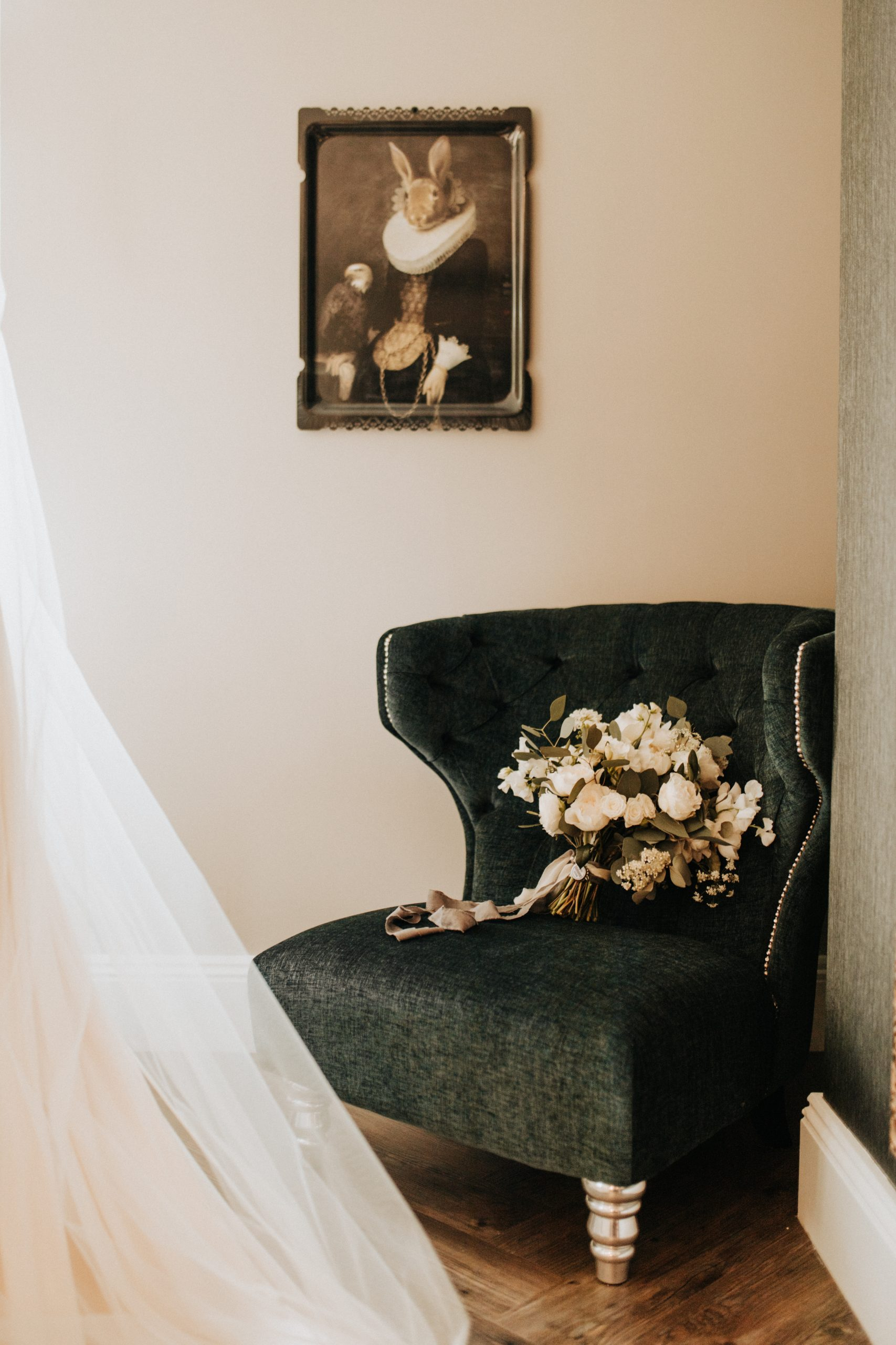 bridal bouquet on beuatiful chair
