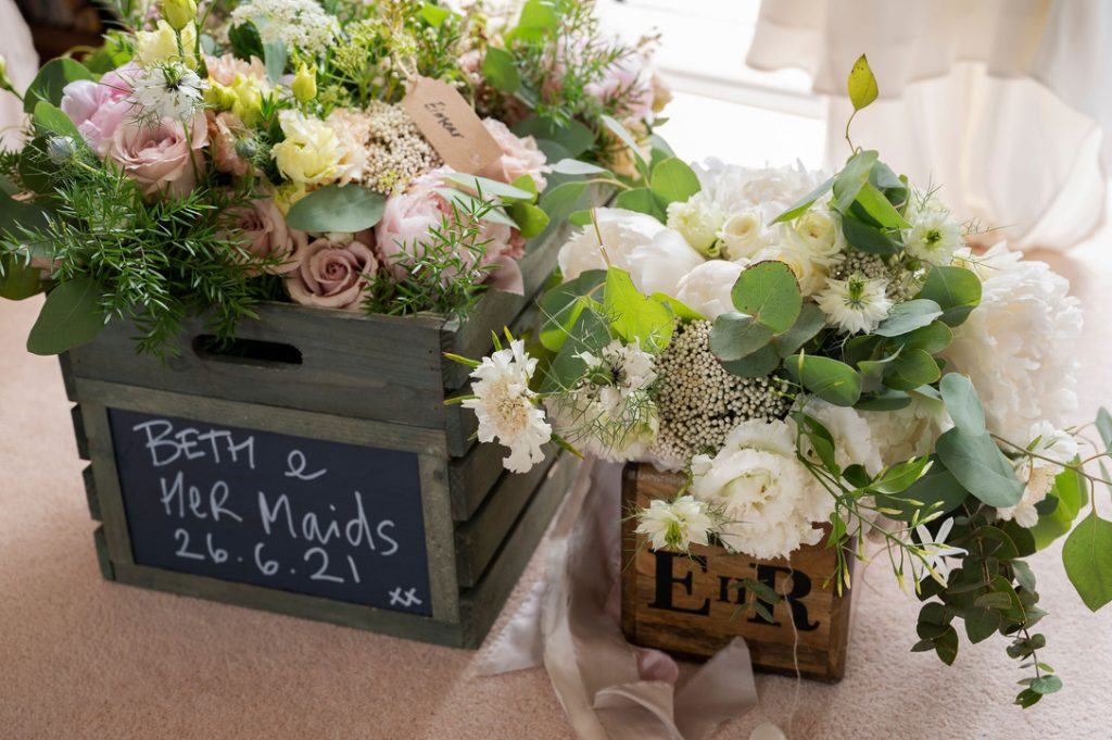 Brides and bridesmaids flowers white and blush